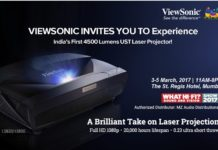 ViewSonic Invites You to Experience the Launch of India's First 4500 Lumens UST Full HD Laser Projector